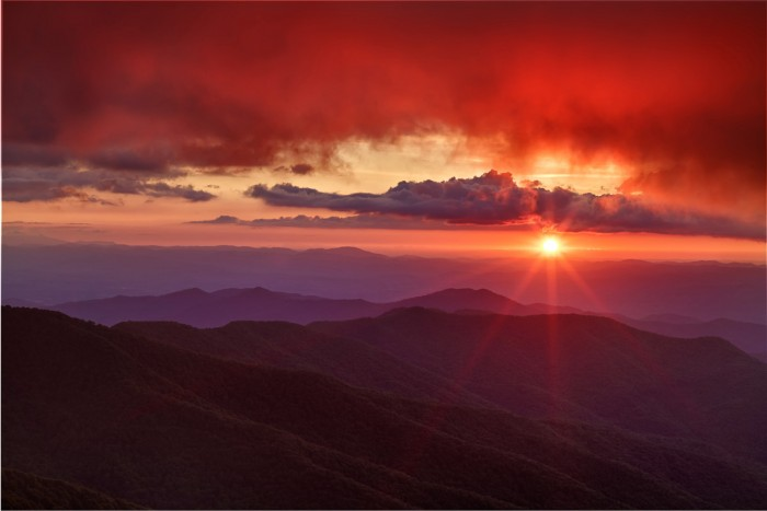 Sunset at Craggy Pinnacle, Blue Ridge Mountains
