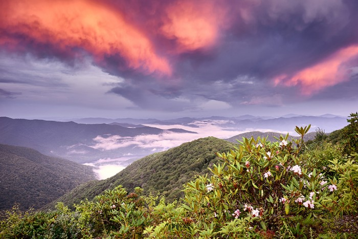 Red Skies at Night near Craggy Gardens - Blue Ridge Parkway (North of Asheville)